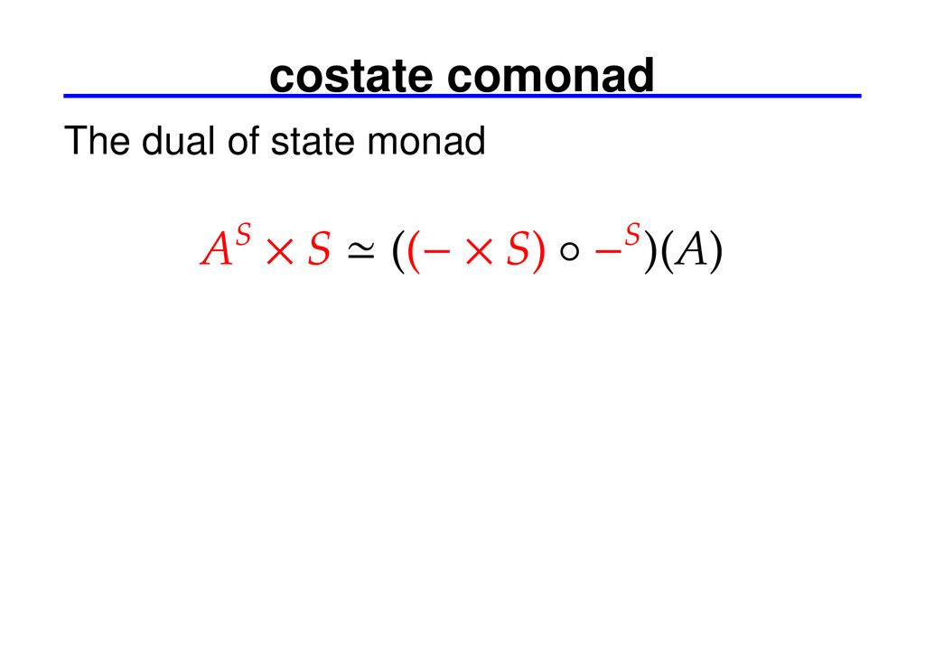 costate comonad The dual of state monad AS × S ...