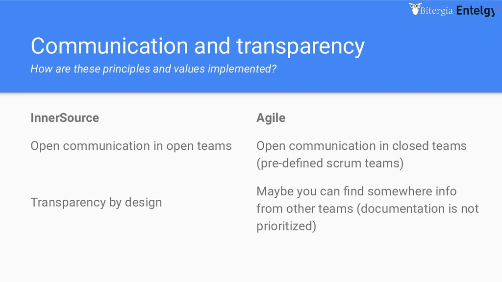 Communication and transparency How are these pr...