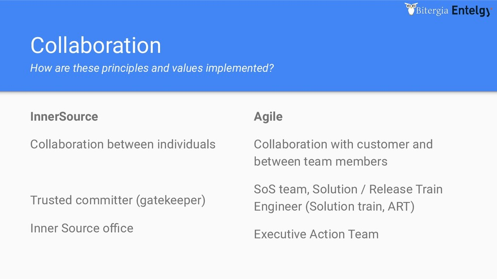 Collaboration How are these principles and valu...