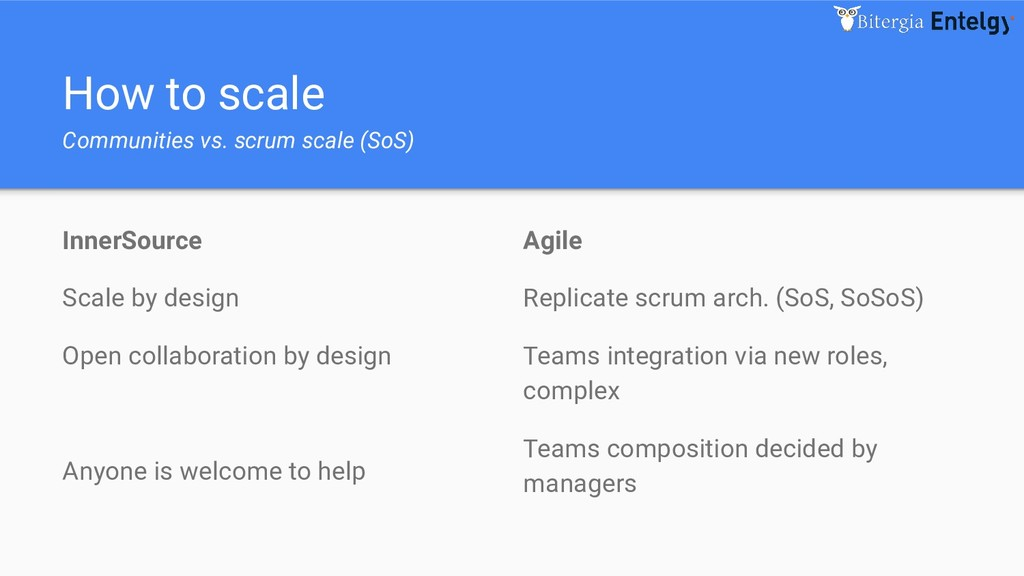 How to scale Communities vs. scrum scale (SoS) ...
