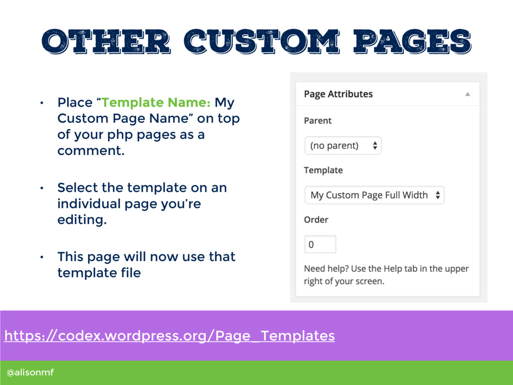 "@alisonmf Other Custom Pages • Place ""Template ..."