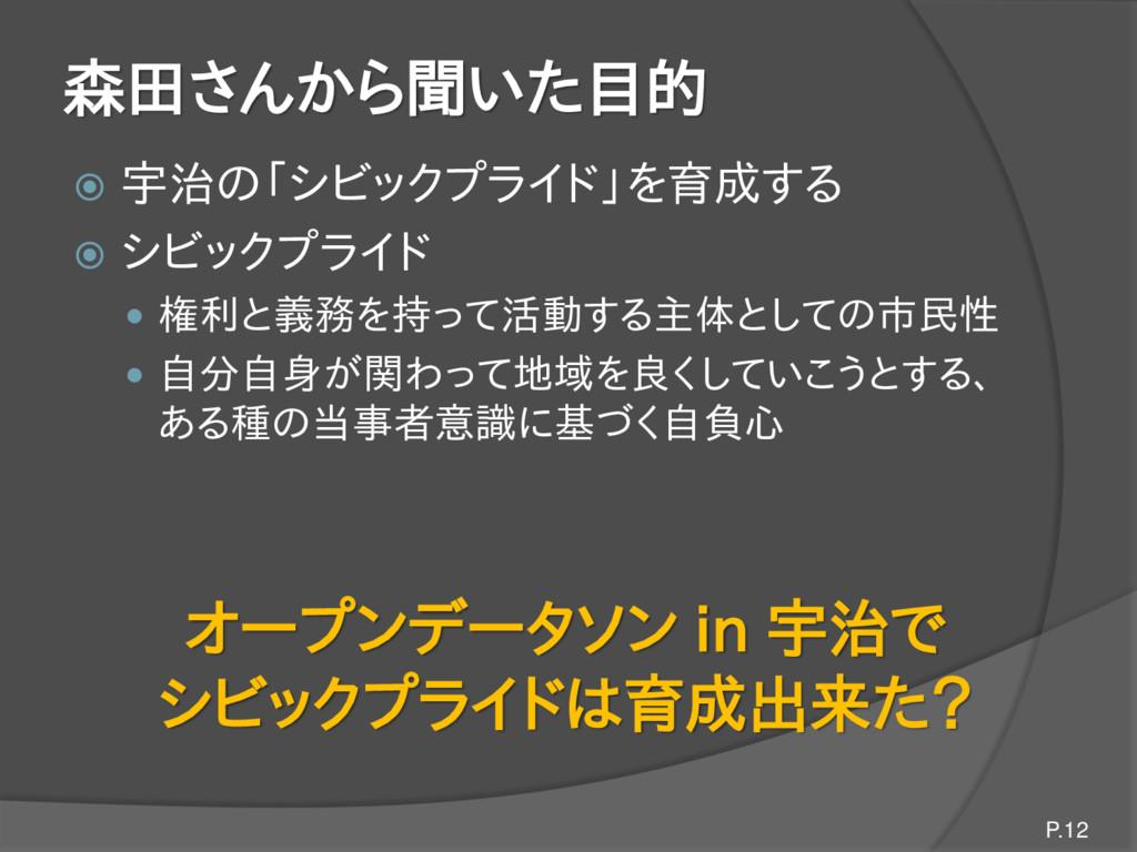 森田さんから聞いた目的  宇治の「シビックプライド」を育成する  シビックプライド  権...