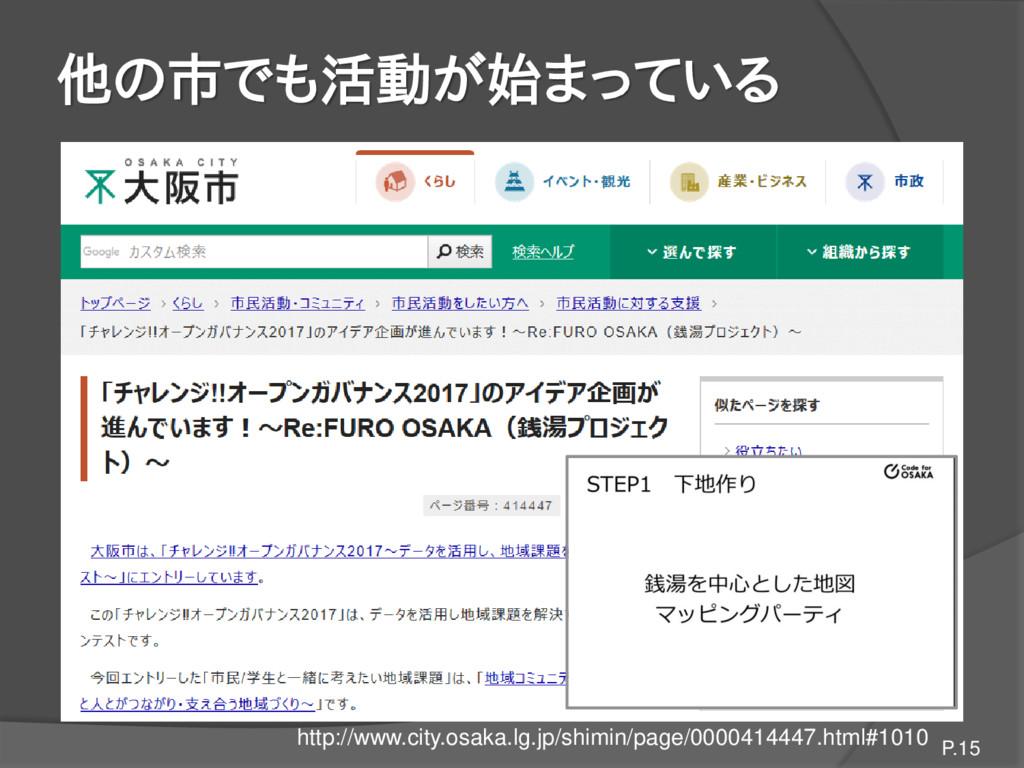 他の市でも活動が始まっている P.15 http://www.city.osaka.lg.jp...