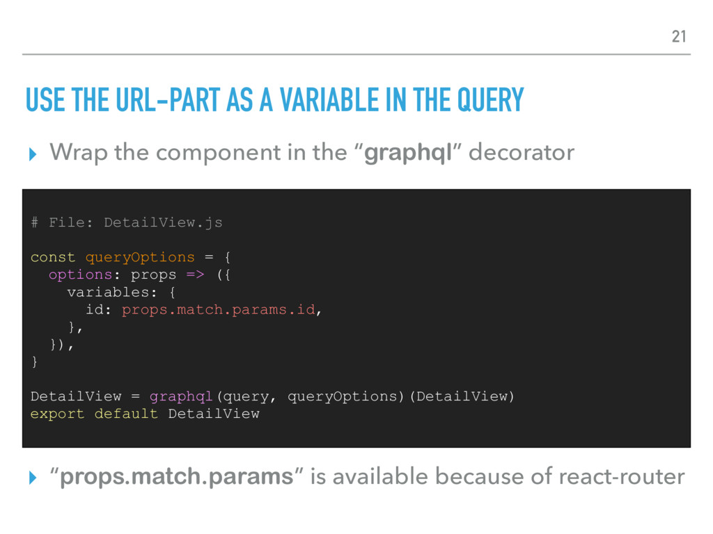 USE THE URL-PART AS A VARIABLE IN THE QUERY ▸ W...