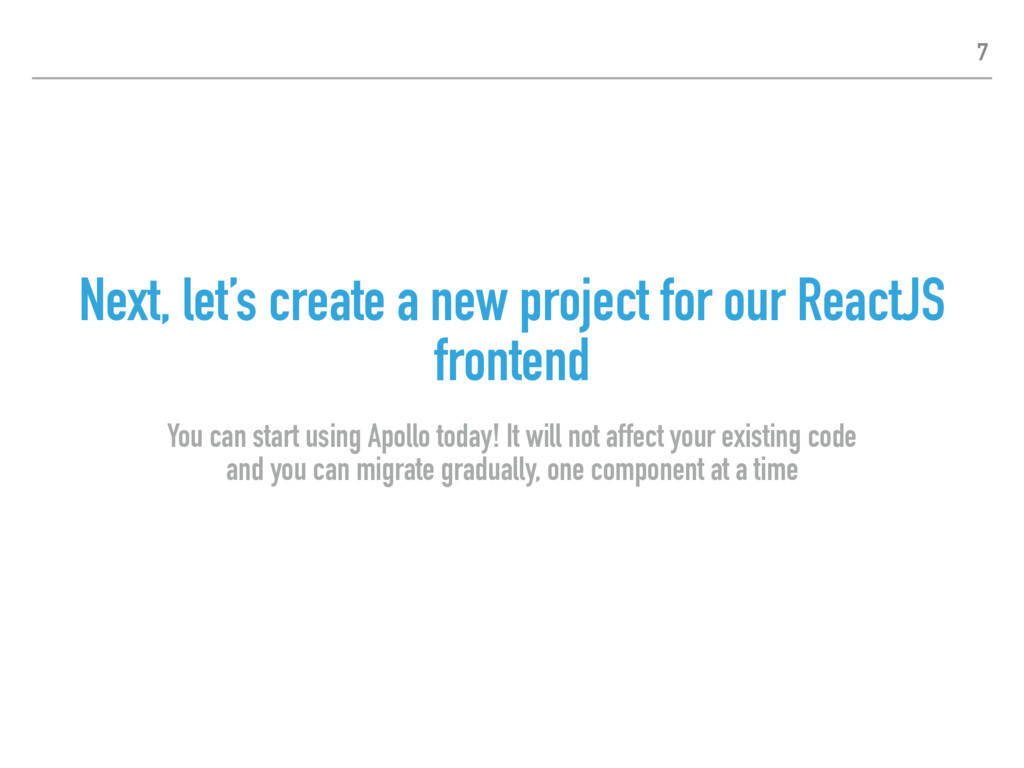 Next, let's create a new project for our ReactJ...
