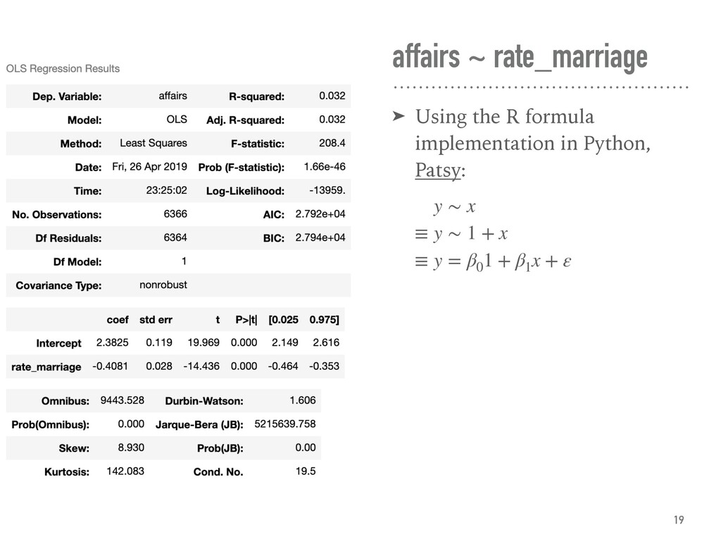 affairs ~ rate_marriage ➤ Using the R formula i...