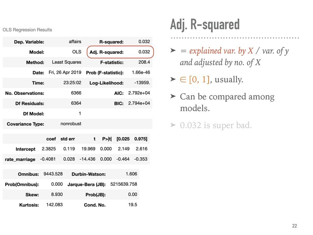 Adj. R-squared ➤ = explained var. by X / var. o...