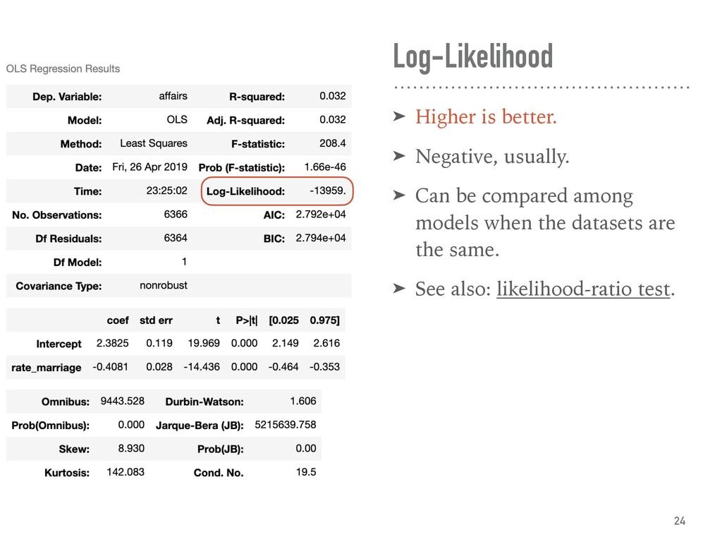 Log-Likelihood ➤ Higher is better. ➤ Negative, ...