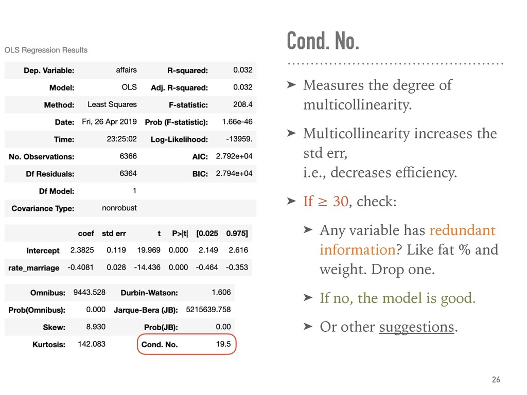 Cond. No. ➤ Measures the degree of multicolline...