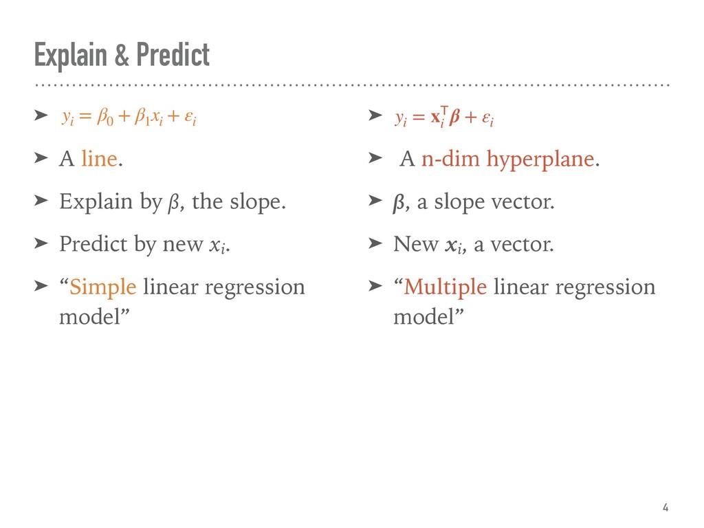 Explain & Predict ➤ ➤ A line. ➤ Explain by β, t...