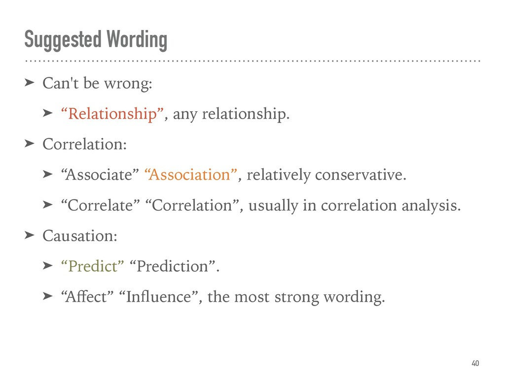 "Suggested Wording ➤ Can't be wrong: ➤ ""Relation..."