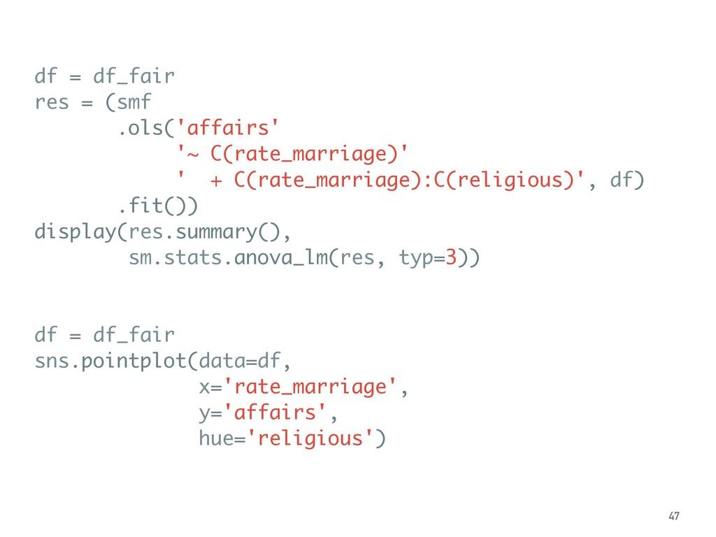df = df_fair res = (smf .ols('affairs' '~ C(rat...