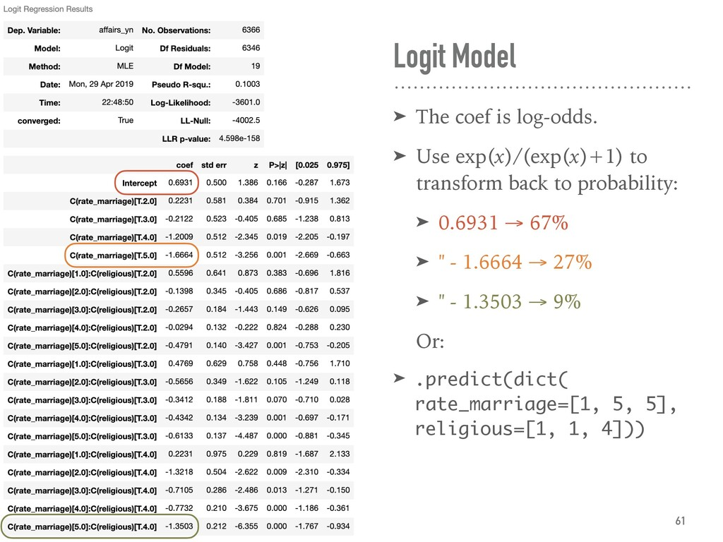 Logit Model ➤ The coef is log-odds. ➤ Use exp(x...