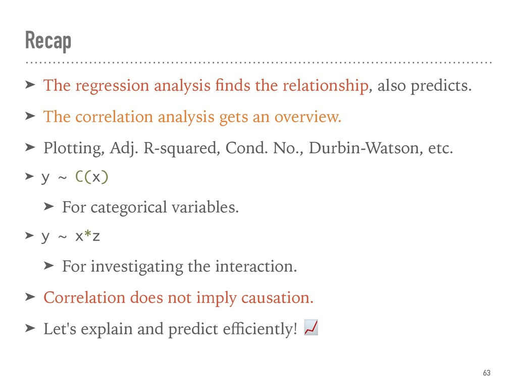 Recap ➤ The regression analysis finds the relati...