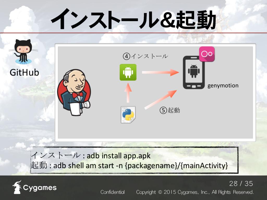 ④インストール genymotion インストール&起動 インストール : adb ...