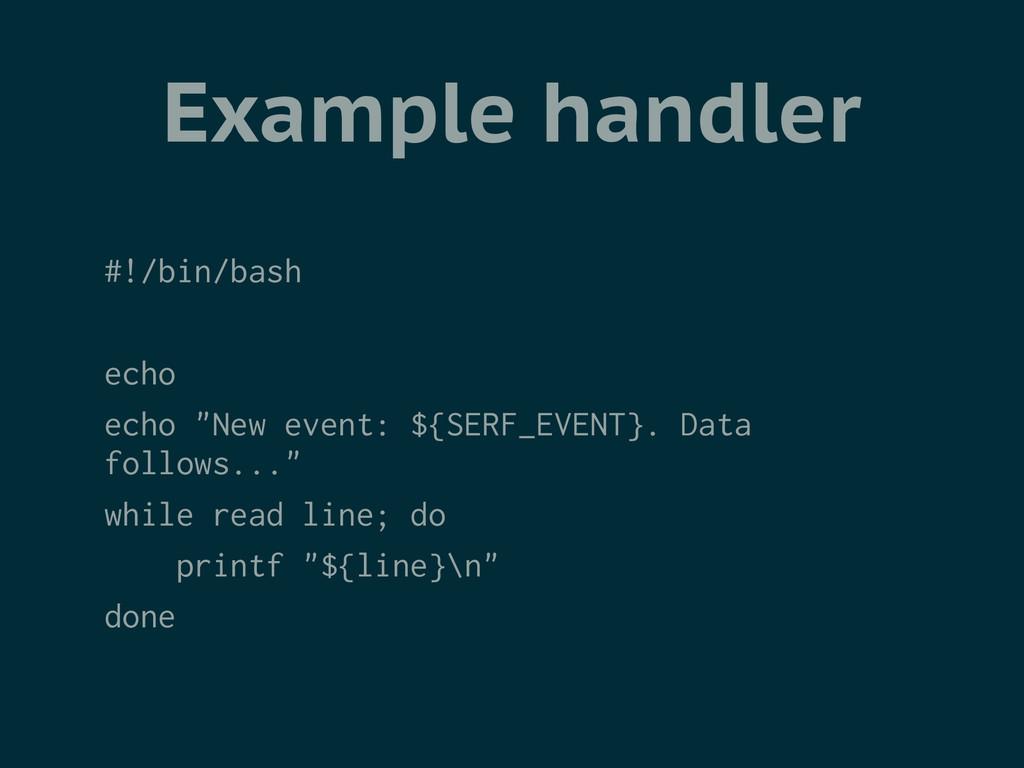 "Example handler #!/bin/bash ! echo echo ""New ev..."