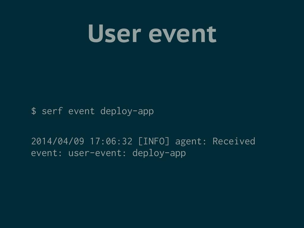 User event $ serf event deploy-app ! 2014/04/09...
