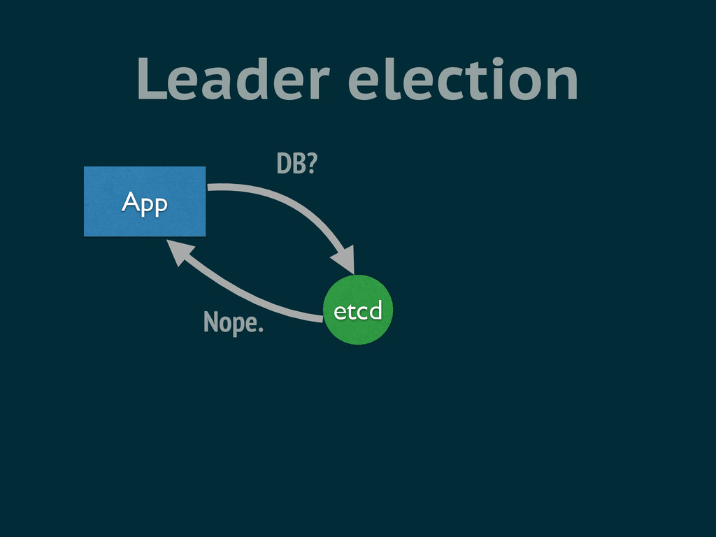 Leader election etcd App DB? Nope.