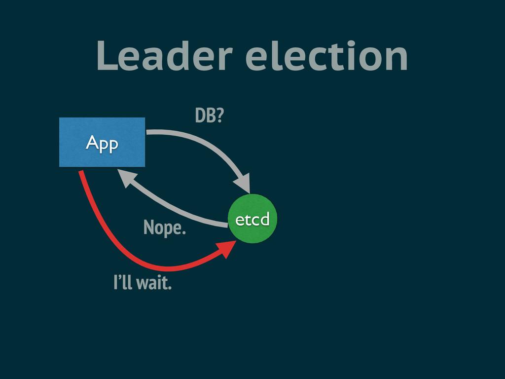 Leader election etcd App DB? Nope. I'll wait.