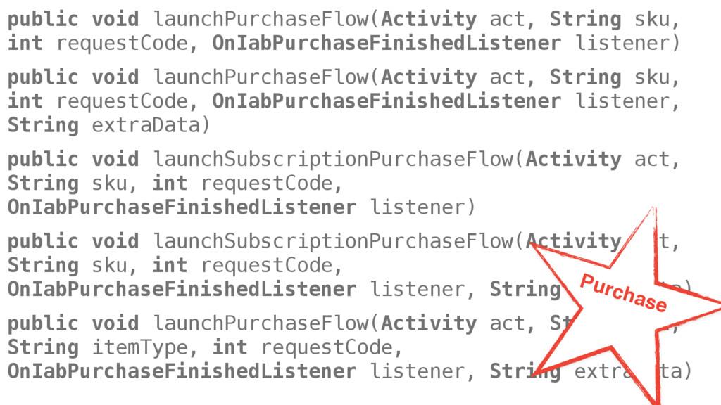 public void launchPurchaseFlow(Activity act, St...