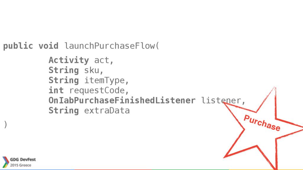 public void launchPurchaseFlow( Activity act, ...