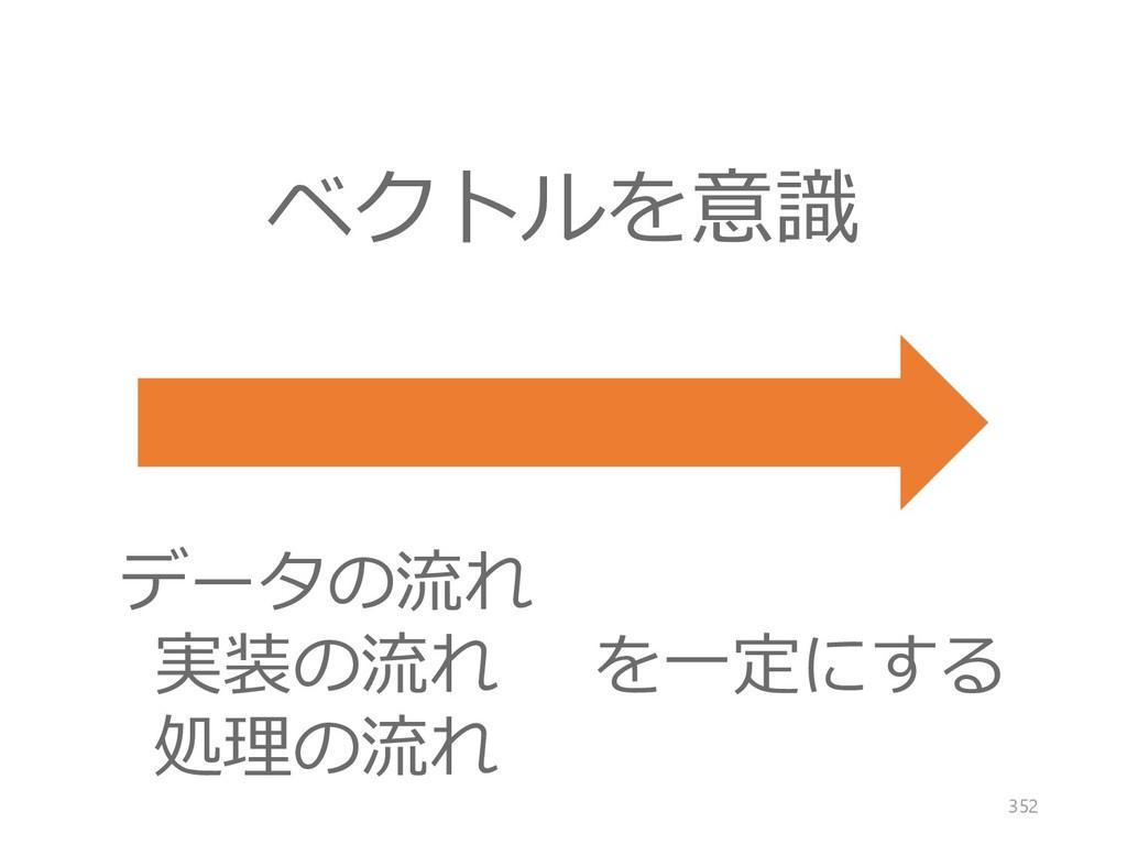 ベクトルを意識 データの流れ 実装の流れ 処理の流れ を一定にする 352
