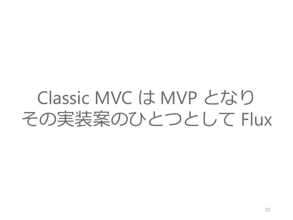 Classic MVC は MVP となり その実装案のひとつとして Flux 70