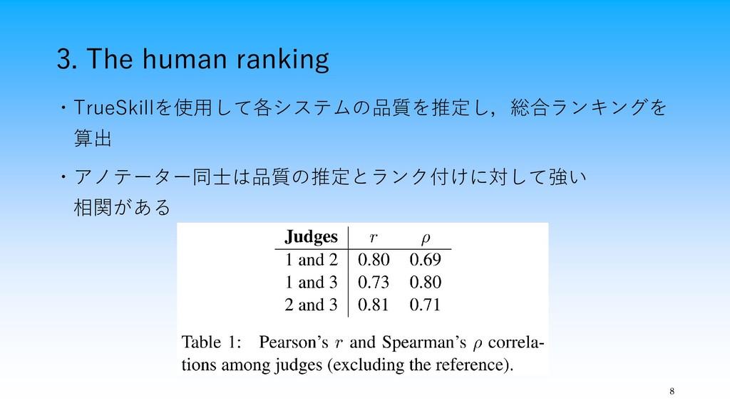 3. The human ranking 8 ・TrueSkillを使用して各システムの品質を...
