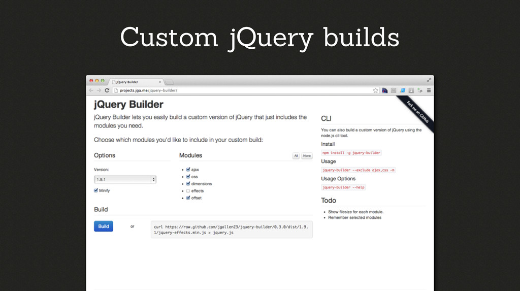 Custom jQuery builds