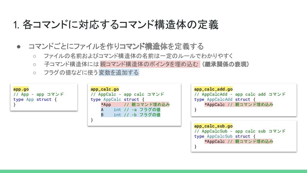 1. 各コマンドに対応するコマンド構造体の定義 app.go // App - app コマン...