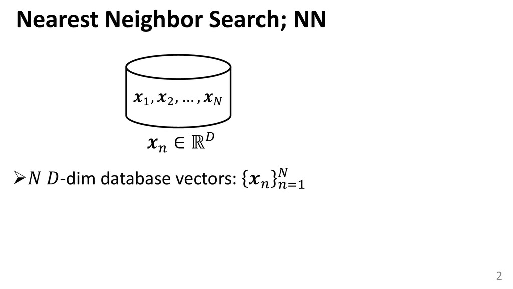 Search 1 , 2 , … ,   ∈ ℝ 2 ➢ -dim database vect...