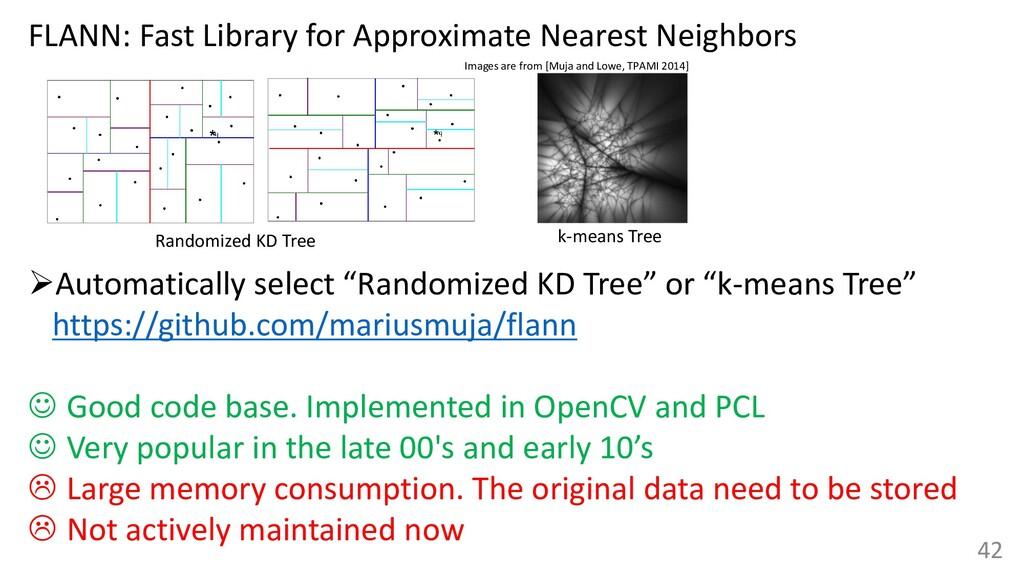 "42 ➢Automatically select ""Randomized KD Tree"" o..."