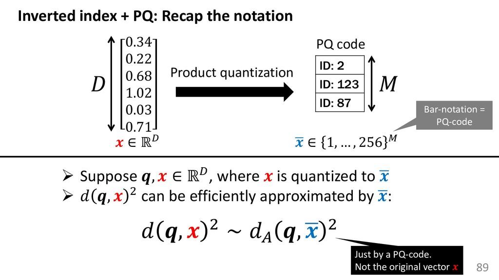 89 Inverted index + PQ: Recap the notation 0.34...