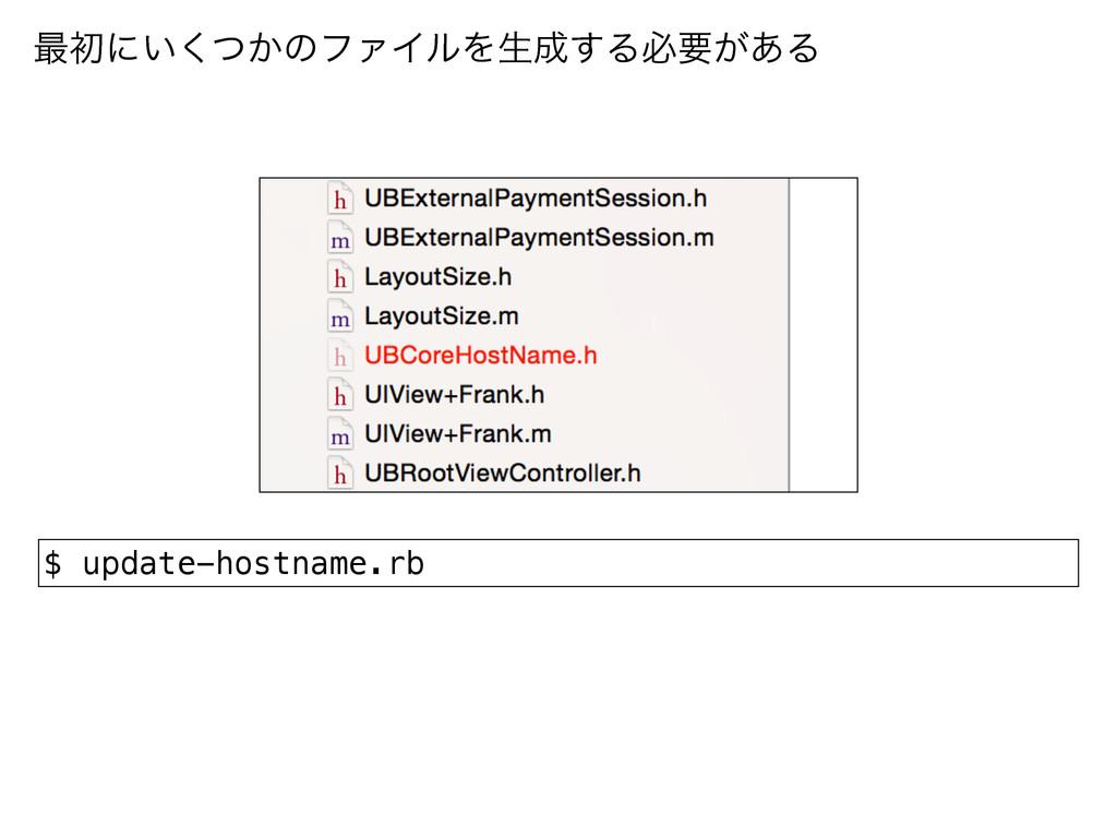 ࠷ॳʹ͍͔ͭ͘ͷϑΝΠϧΛੜ͢Δඞཁ͕͋Δ $ update-hostname.rb