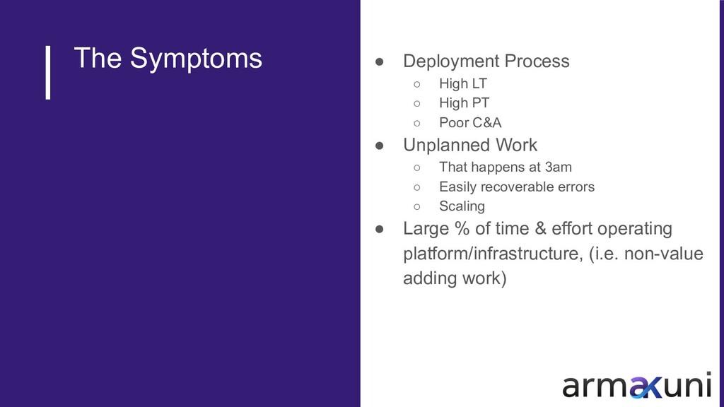 The Symptoms ● Deployment Process ○ High LT ○ H...