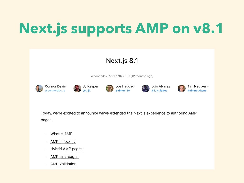 Next.js supports AMP on v8.1