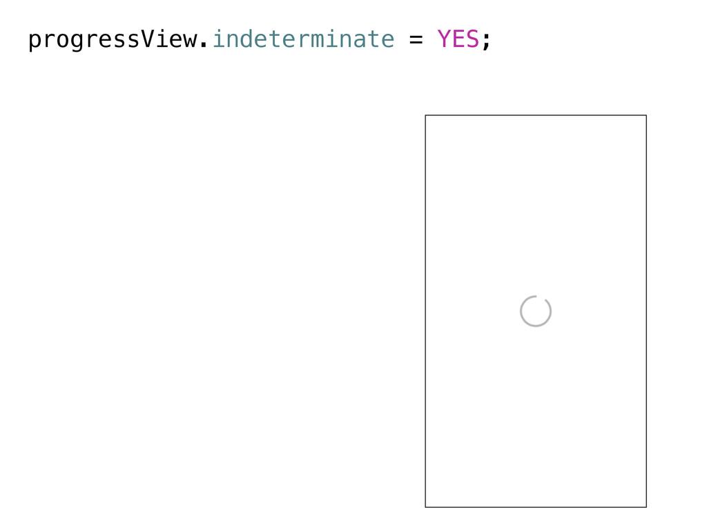 progressView.indeterminate = YES;