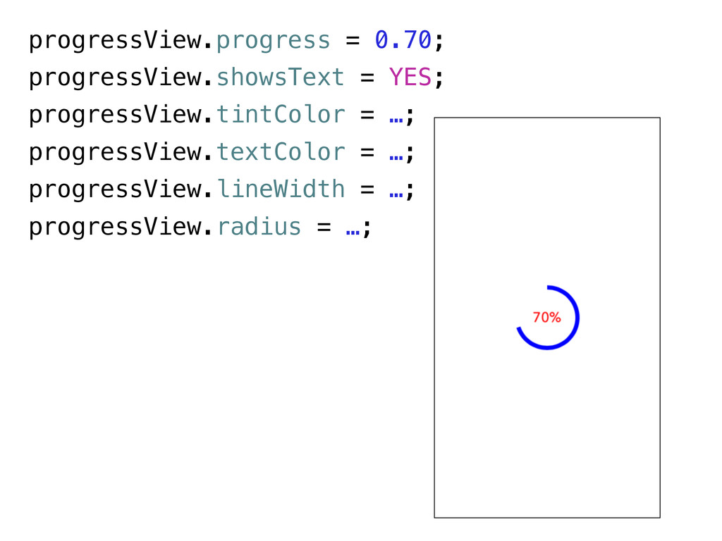 progressView.progress = 0.70; progressView.show...