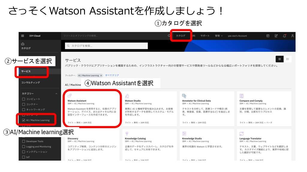 さっそくWatson Assistantを作成しましょう︕ ①カタログを選択 ②サービスを選択...