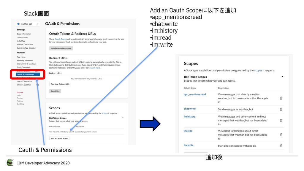 IBM Developer Advocacy 2020 Add an Oauth Scopeに...