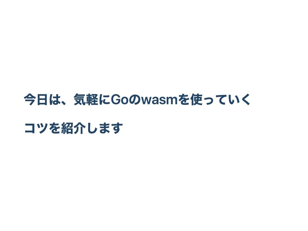 今日は、気軽にGoのwasmを使っていく コツを紹介します
