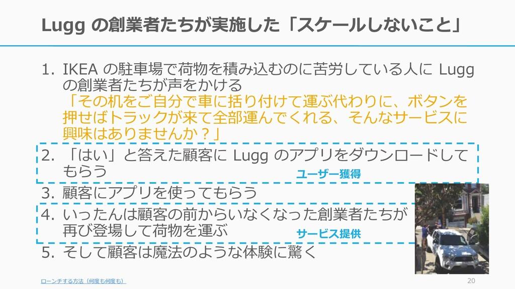 サービス提供 ユーザー獲得 Lugg の創業者たちが実施した「スケールしないこと」 1. IK...