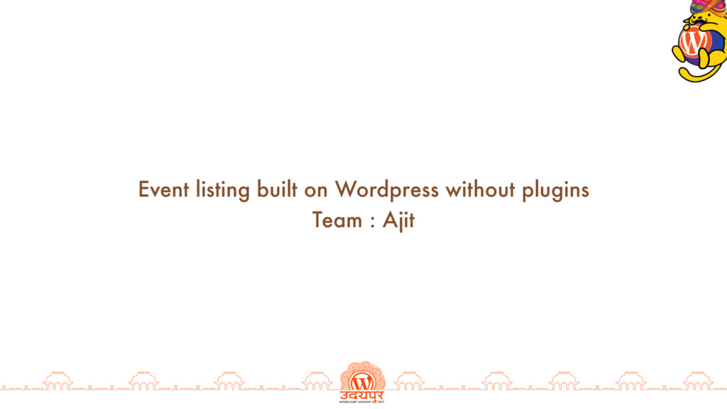 Event listing built on Wordpress without plugin...