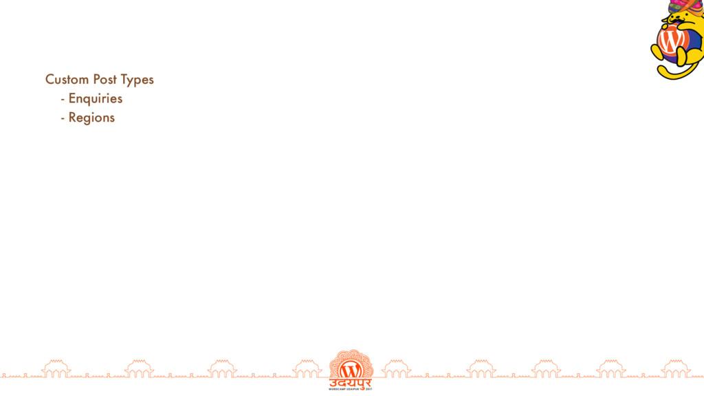 Custom Post Types - Enquiries - Regions