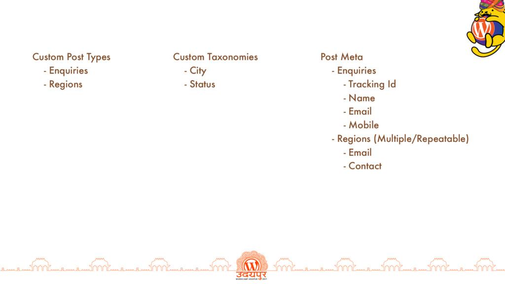 Custom Post Types - Enquiries - Regions Custom ...