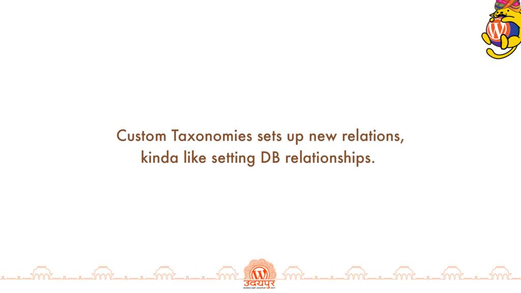 Custom Taxonomies sets up new relations, kinda ...