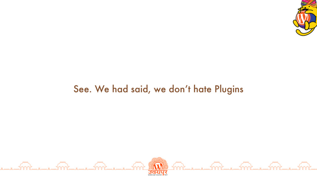 See. We had said, we don't hate Plugins