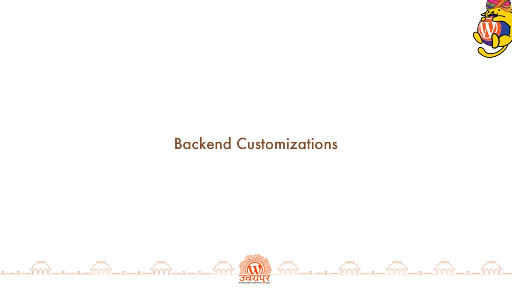 Backend Customizations