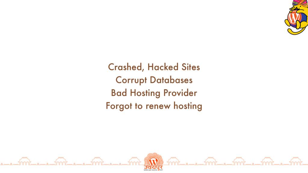 Crashed, Hacked Sites Corrupt Databases Bad Hos...