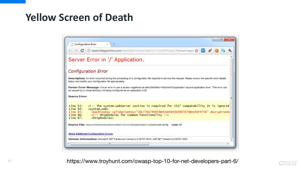 Yellow Screen of Death 57 https://www.troyhunt....